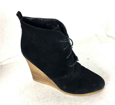 b80b2d2075a Steve Madden Danni Black Suede Wedge lace up Booties Boots womens Shoes 9.5