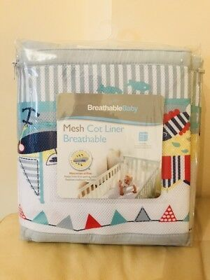 Breathable Baby Tiny Tatty Teddy 4 Sided Mesh Cot Liner, over The Moon