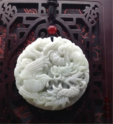 New Collect Chinese natural old whitem Jade Carved Amulet Pendant Phoenix