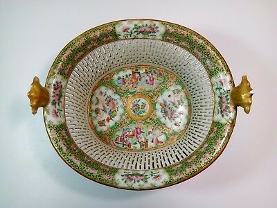 Antique Chinese Porcelain Reticulated  Basket Famille Rose Medallion