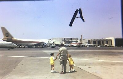 Vintage 1971 Continental Airlines Boeing 747 At Terminal Original 35mm slide