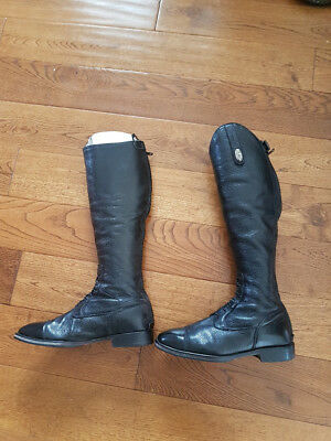 De Niro Black Leather Riding Boots Ladies Children Girls Size 38 / 5