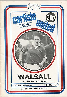 Carlisle United v Walsall, 13 December 1980, FA Cup 2nd Round