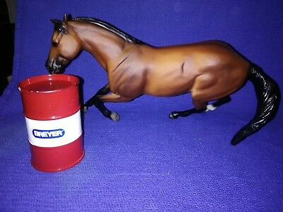 Collectible Series Rodeo  Breyer Horse Barrel Racer With Barrel
