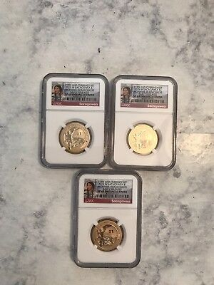 Lot of 3 2015-W Sacagewea Dollars Mohawk Iron Works SP69 Early Release NGC