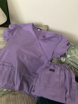 Cherokee Workwear scrub top And pants set Orchid Size Medium