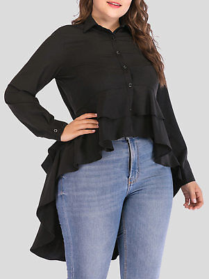 aabc7bd64d8 L-5X Ladies Womens Plus Size Layered Ruffle High Low Shirt Blouse Tee Tops  Black