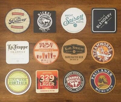 Lot of 12 Craft Beer Coasters (Bruery, Modern Times, Beachwood, etc.)