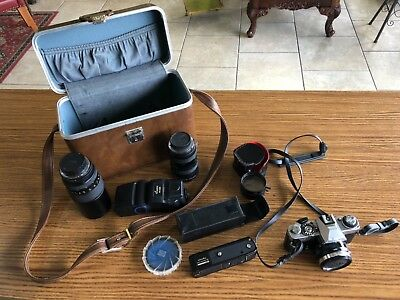 Minolta XD 11 camera with accessories