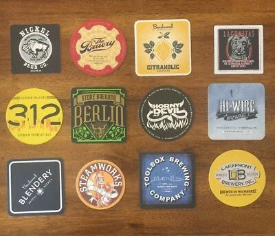 Lot of 12 Craft Beer Coasters (Bruery, Alesmith, Beachwood, etc.)