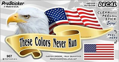 ProSticker 907V (One) American Flag These Colors Never Run Eagle Decal Sticker