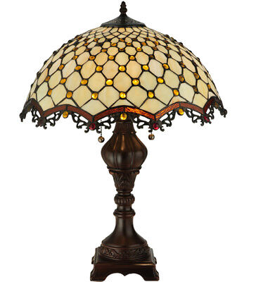"Meyda Tiffany Style Stained Glass 24""H Jeweled Katherine Table Lamp Light Ornate"