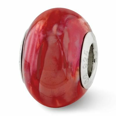 Sterling Silver Reflection Orange and Pink Ceramic Bead MSRP $82