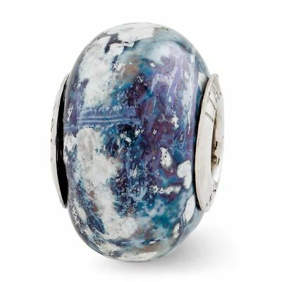 Sterling Silver Reflection Blue and Grey and White Ceramic Bead MSRP $82