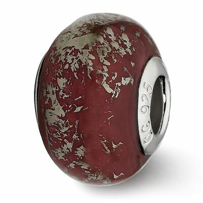 Sterling Silver Reflection Dark Red with Platinum Foil Ceramic Bead MSRP $82