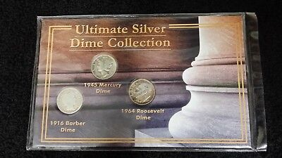Ultimate Silver Dime Collection 1916 Barber 1945 Mercury 1964 Roosevelt Dimes