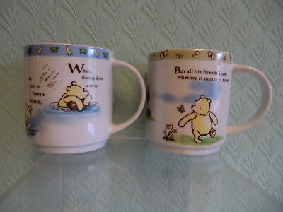 """Queens Fine China Disney Winnie The Pooh """"A Friend Forever"""" Two Mugs."""