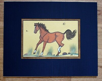 Free Shipping Double Matted Horse Painting  By Navajo, Quincy Tahoma, Unframed