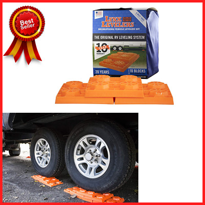 RV Motorhome Wheel Leveling System Blocks Plastic Stabilizing Lift Base, 10 Pack