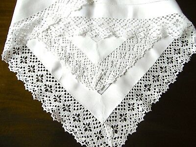 Vintage, Lovely Hand Crochet Tablecloth, White Linen Lawn,