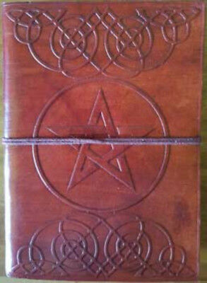 "5"" x 7"" Pentagram Leather Blank Book Journal Diary Cord Celtic Tooling Pentacle"