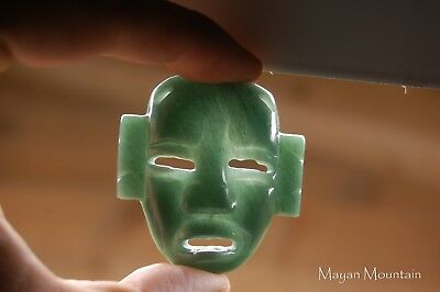 Large Mexican Olmec Face Carving Pendant In Guatemalan Jadeite Jade Necklace 01