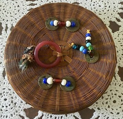 """Vintage Round 7"""" Asian Oriental Bamboo Sewing Basket Chinese Coins Beads Ring"""