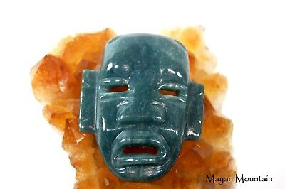 Large Mexican Olmec Face Carving Pendant In Guatemalan Jadeite Jade Necklace 02