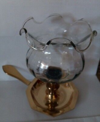 Antique/Vtg. Small glass candle Holder, solid brass stick. Candle included.