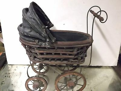 Antique Victorian Look Wicker,Canvas Iron Wheels Doll Buggy Stroller
