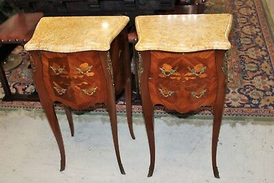 French Antique Inlaid Rosewood Louis XV Marble Top Pair of Nightstand