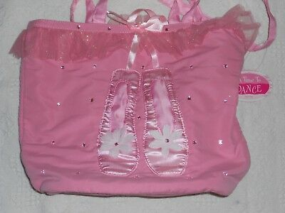 Girls Soft Sequined Ruffled Satin Pink Ballet Bag Tote New With Tags!