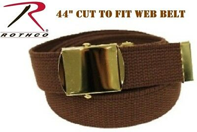 "Brown & Gold Buckle 100% Cotton Military Web Belt 44"" CUT TO FIT Rothco 4185"