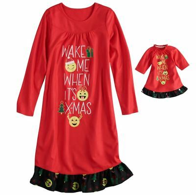 c10e588bf3 Girl 4-14 and Doll Matching Christmas Nightgown Clothes American Girl  Dollie Me