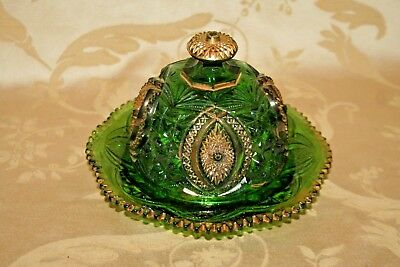 """Antique Dark Green 8"""" Pressed Glass & Gilt Covered Butter Cheese Dish"""