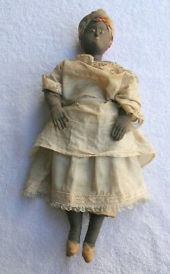 BLACK DOLL CLOTH LOOKS OLD 13 inches tall