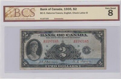 1935 Bank Of Canada $2 Bc-3 A1187165 Vg 8