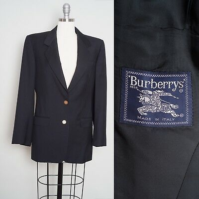 Beautiful BURBERRY Black Tailored Blazer with Gold Stamped Buttons Made in Italy