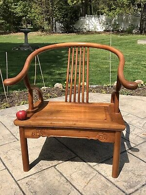 Antique Vintage Chinese Wood Carved Horseshoe Chair Mid Century Lounge