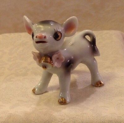 Baby Calf/Cow Gold Bell Japan Porcelain Figurine Gray & White Vintage