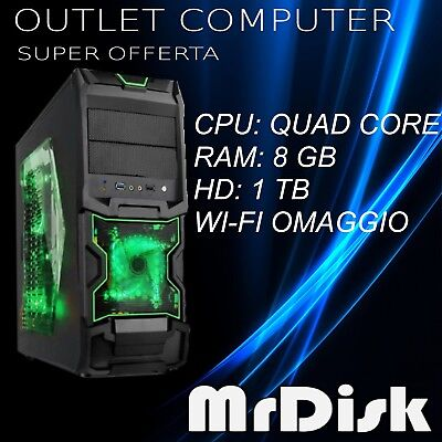 Pc Computer Fisso Desktop Gaming Quad Core Ram 8Gb Hd 1 Tb  Wi-Fi Windows 10 Pro