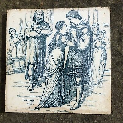RARE Wedgwood Tile of Ivanhoe & Rowena, ca. 1880 by Thomas Allen