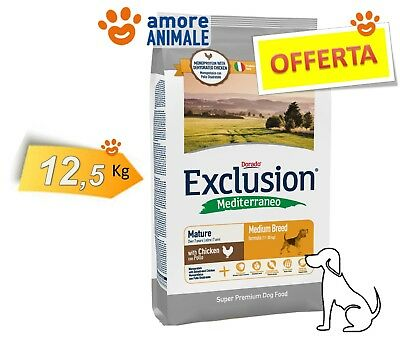 Exclusion Dog Mediterraneo Adult Medium Breed MATURE con Pollo 12,5 kg - Cani