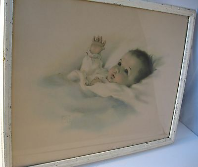 Antique Gerber Print Baby Bessie Pease Gutmann 19 x 15 Awakening 1918 Farmhouse