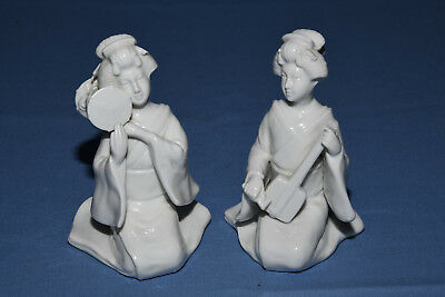 Set of Two (2) Small Vintage White Fitz and Floyd Porcelain Asian Ladies RG242
