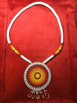 Vintage Beaded Rosette Necklace Native American Indian Signed.