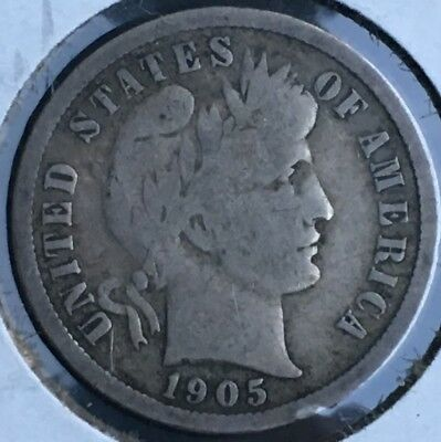 1905 - 1905 o - 1905 s Silver Barber Dime 10c Group.