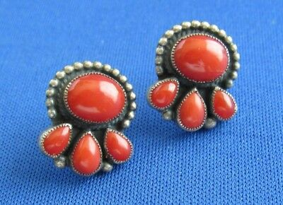 Vtg Navajo Signed Don Lucas Post Earrings Sterling Silver  Coral