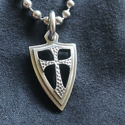 Steel Flame XL Crusader Shield Double Cross 'Spike' Pendant w Chain - Brand New