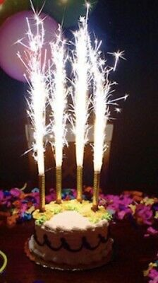 4 Pcs Birthday Cake Candle Fountain Sparkling SILVER FREE SHIPPING